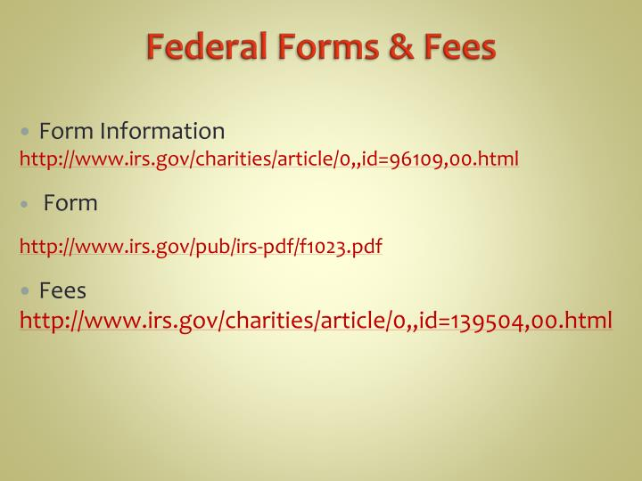Federal Forms & Fees