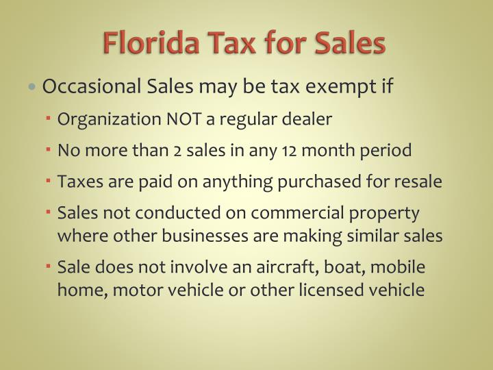 Florida Tax for Sales
