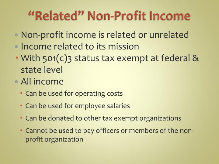 """Related"" Non-Profit Income"