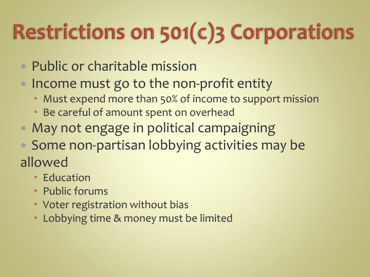 Restrictions on 501(c)3 Corporations