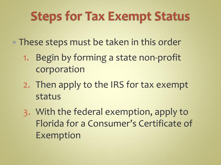 Steps for Tax Exempt Status