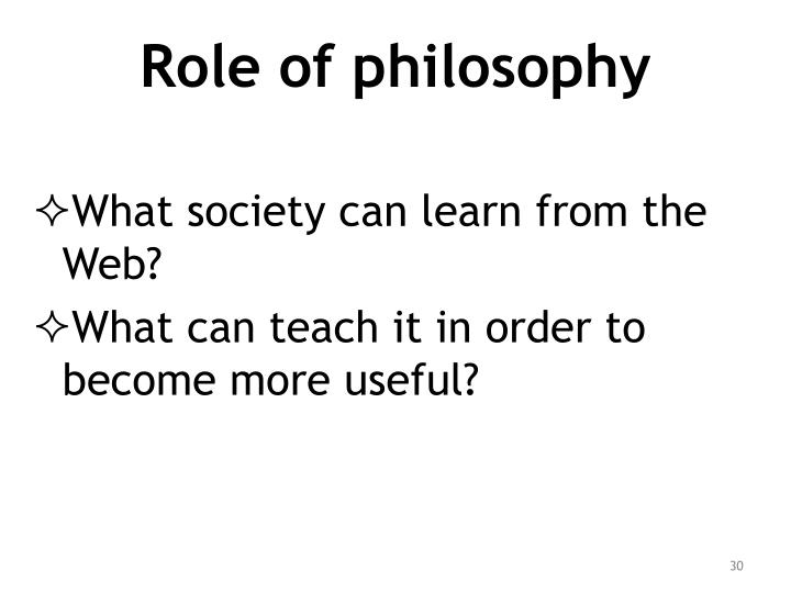 Role of philosophy