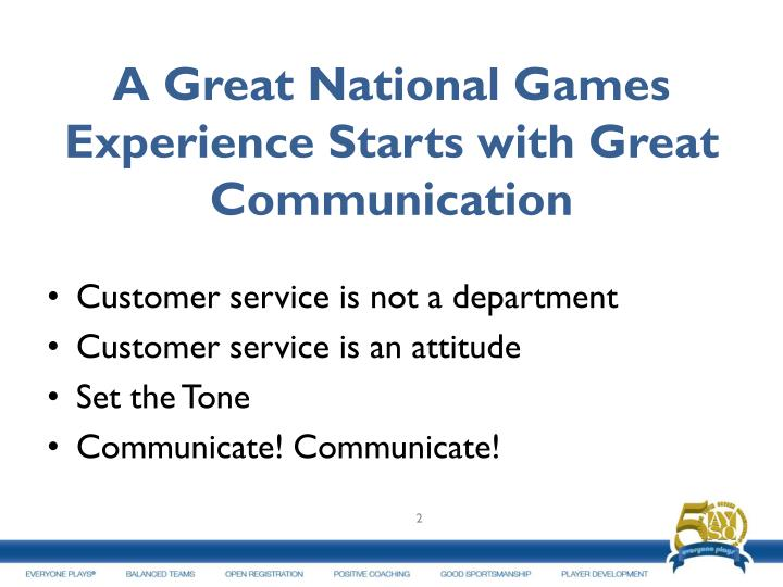 A Great National Games Experience Starts with Great Communication