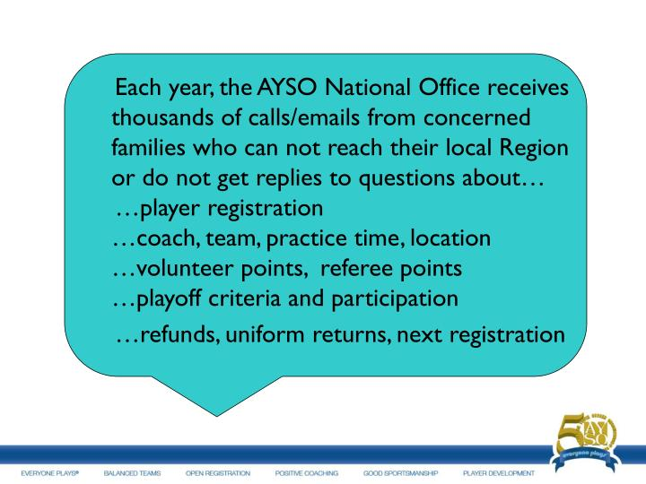 Each year, the AYSO National Office receives thousands of calls/emails from concerned families who can not reach their local Region or do not get replies to questions about…