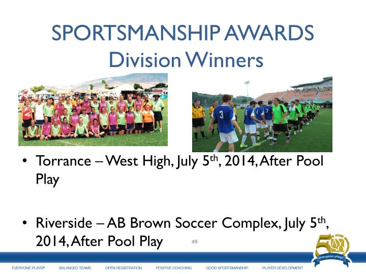 SPORTSMANSHIP AWARDS