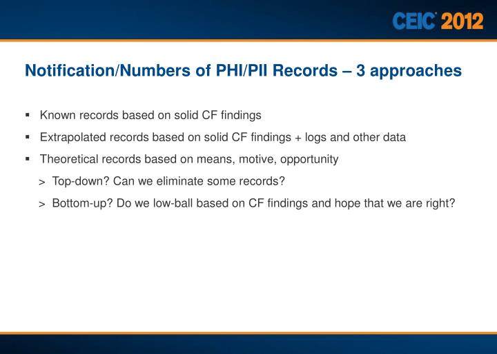 Notification/Numbers of PHI/PII Records – 3 approaches