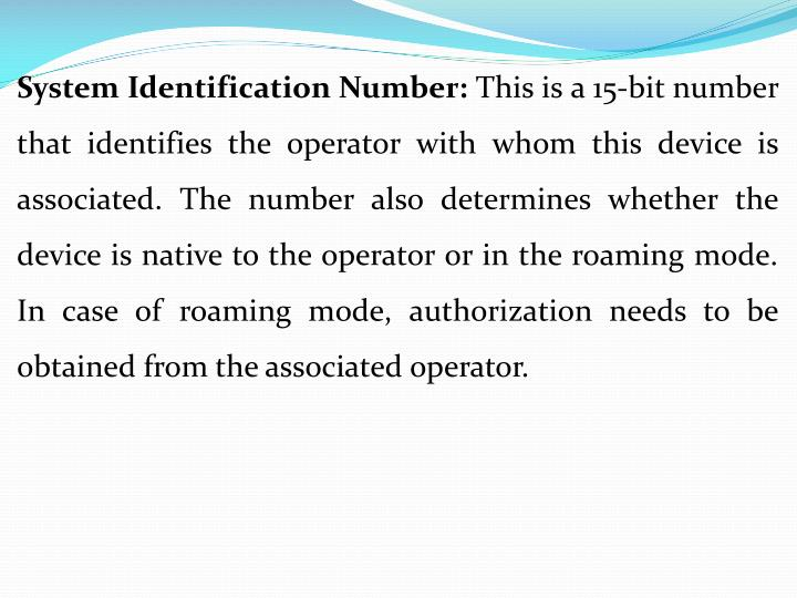 System Identification Number: