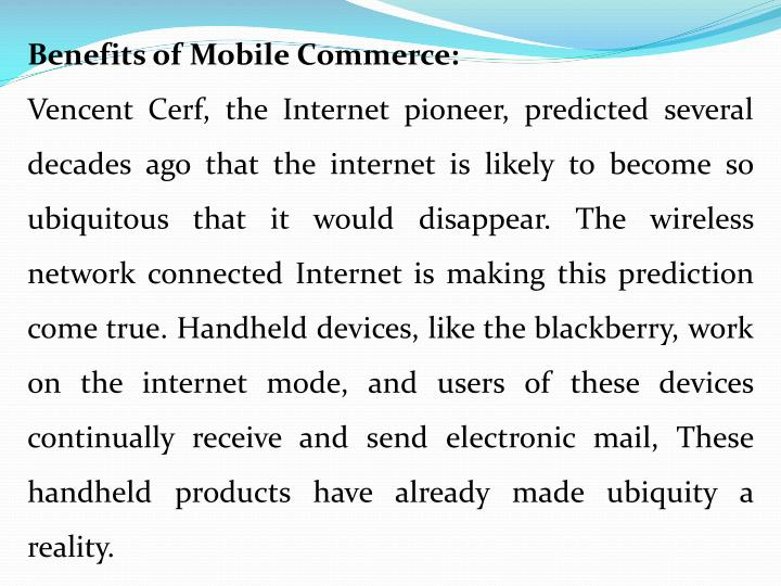 Benefits of Mobile Commerce: