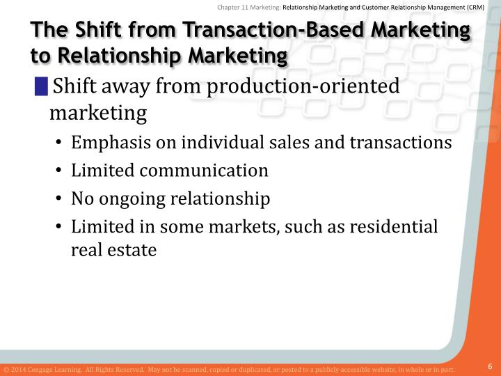 transaction oriented marketing and relationship program