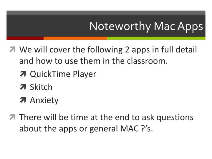 Noteworthy Mac Apps