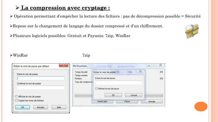 La compression avec cryptage :