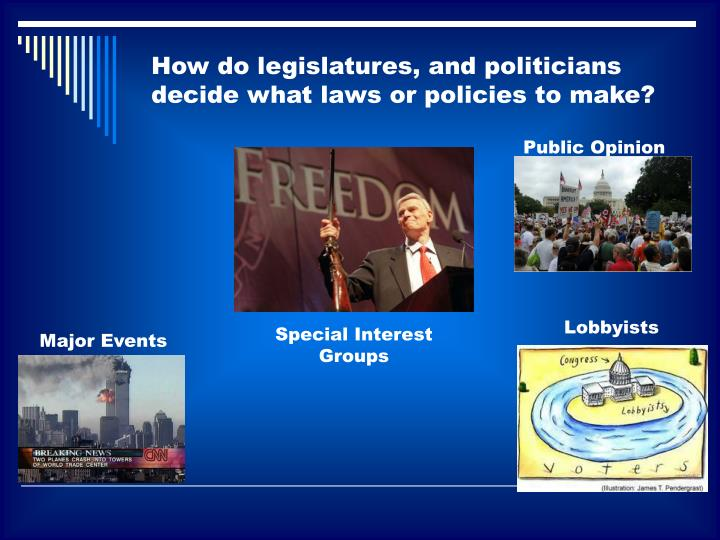 How do legislatures, and politicians decide what laws or policies to make?