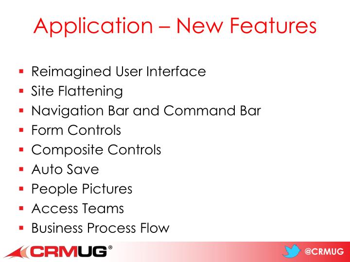 Application – New Features