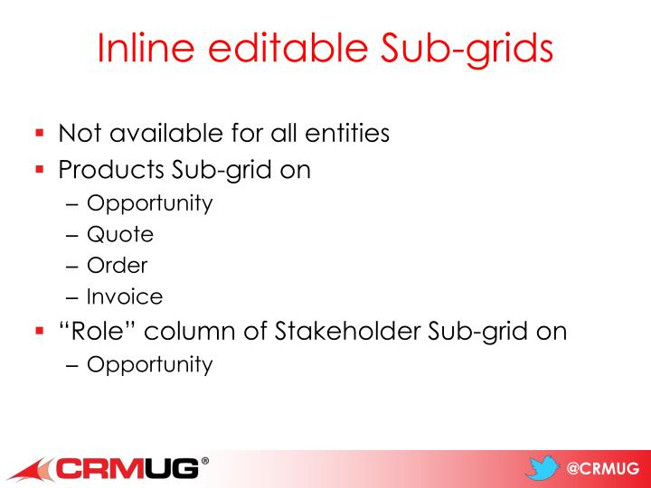 Inline editable Sub-grids
