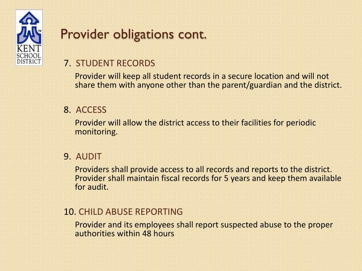 Provider obligations cont.