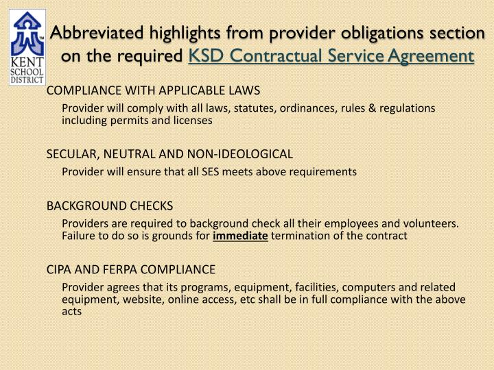 Abbreviated highlights from provider obligations section on the required