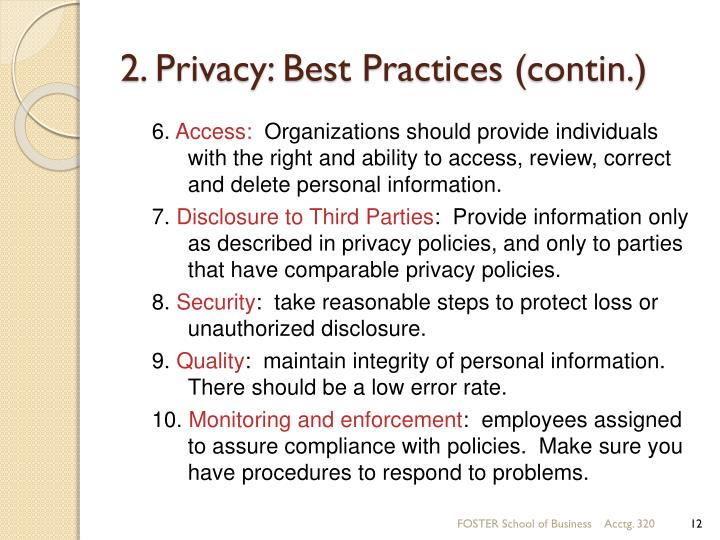2. Privacy: Best Practices (