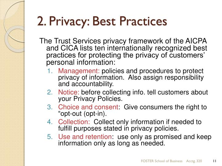 2. Privacy: Best Practices