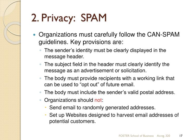 2. Privacy:  SPAM