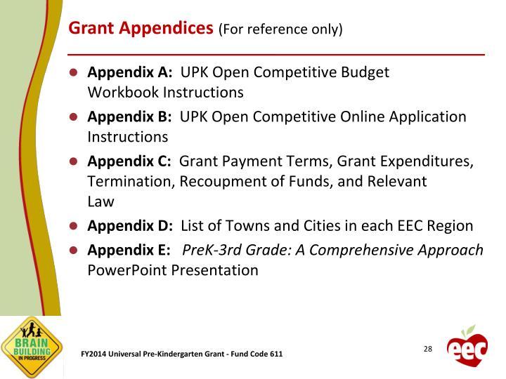 Grant Appendices
