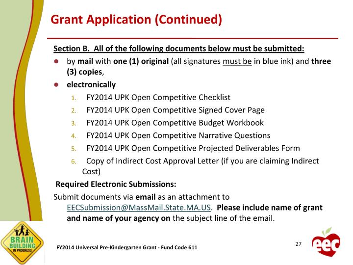 Grant Application (Continued)