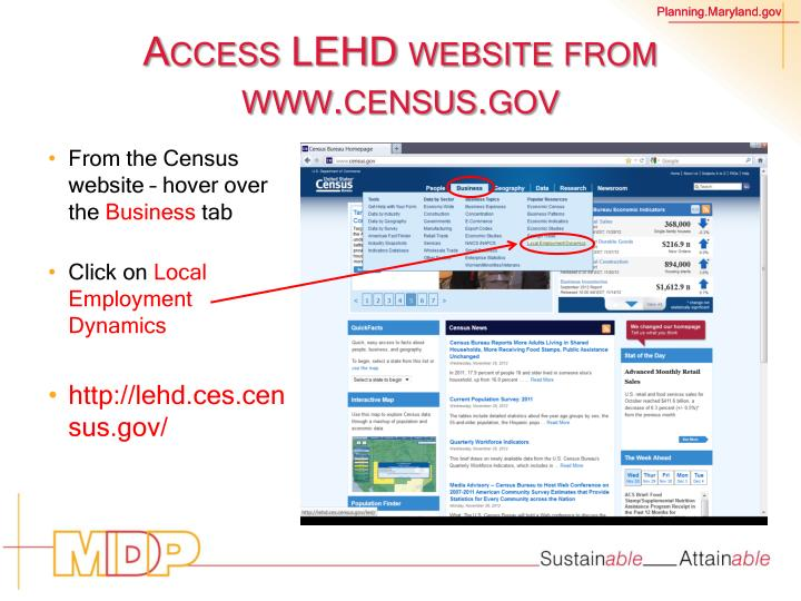 Access LEHD website from www.census.gov
