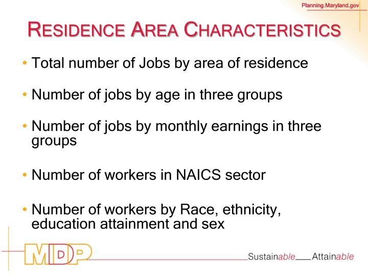 Residence Area Characteristics