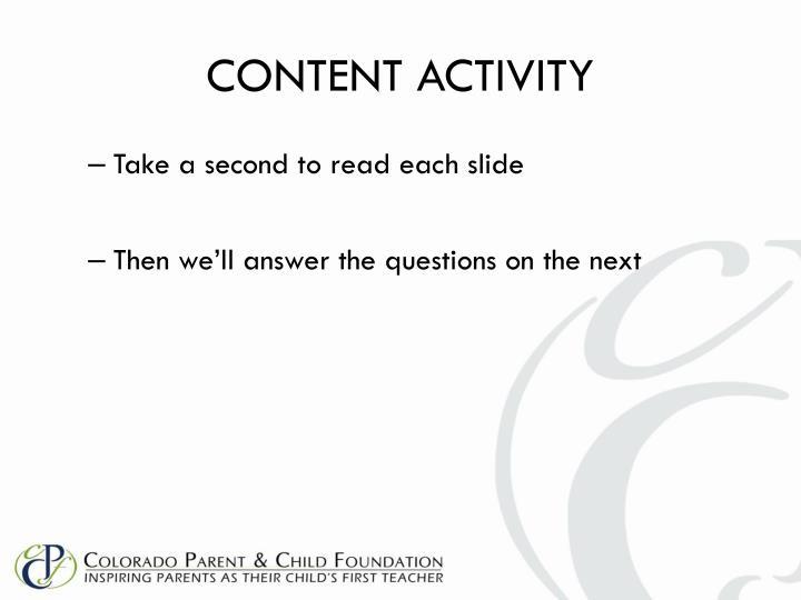 CONTENT ACTIVITY
