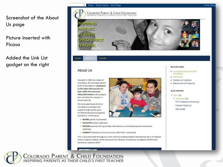 Screenshot of the About Us page