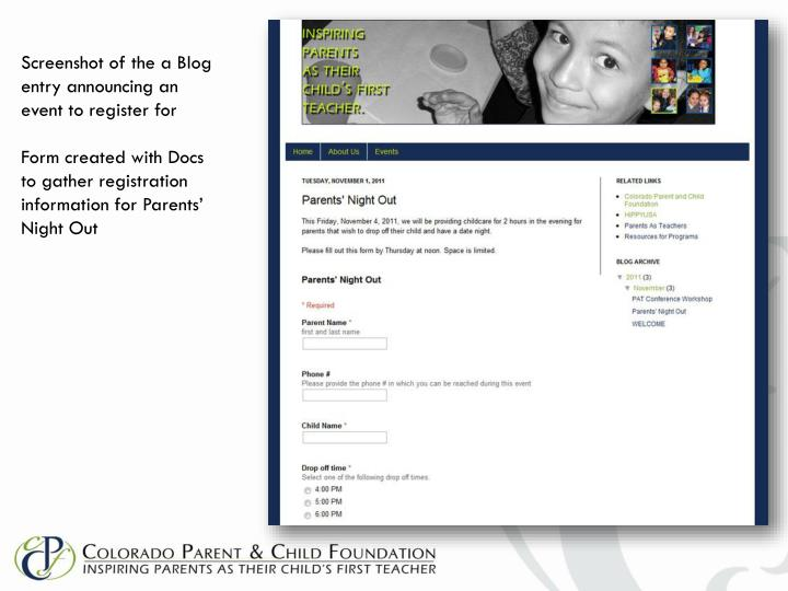 Screenshot of the a Blog entry announcing an event to register for
