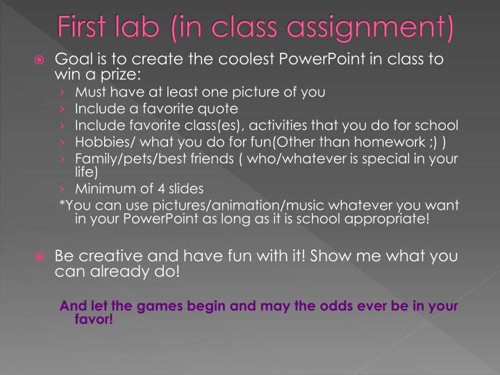 First lab (in class assignment)