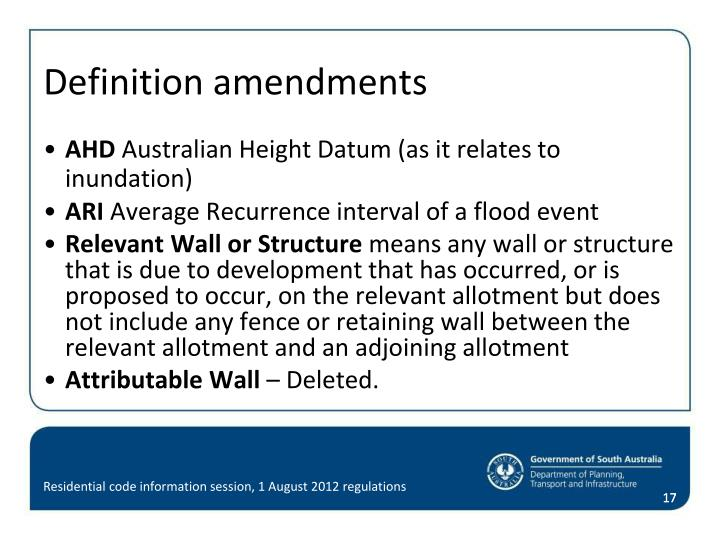 Definition amendments