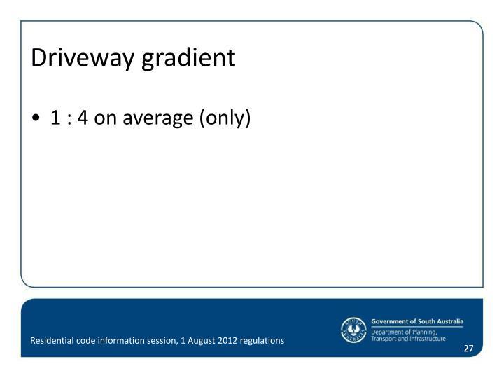 Driveway gradient