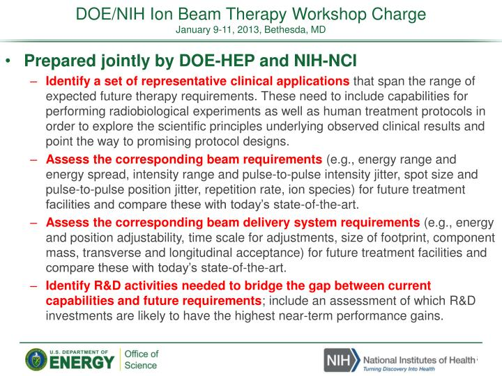 DOE/NIH Ion Beam Therapy Workshop Charge