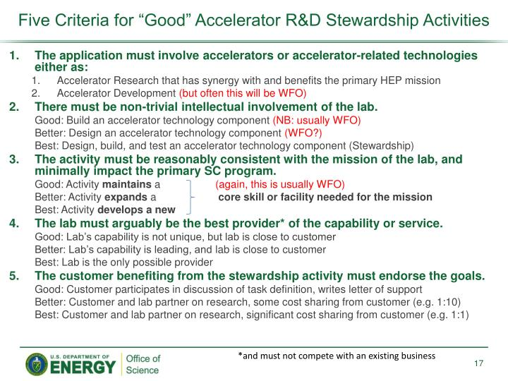 "Five Criteria for ""Good"" Accelerator R&D Stewardship Activities"