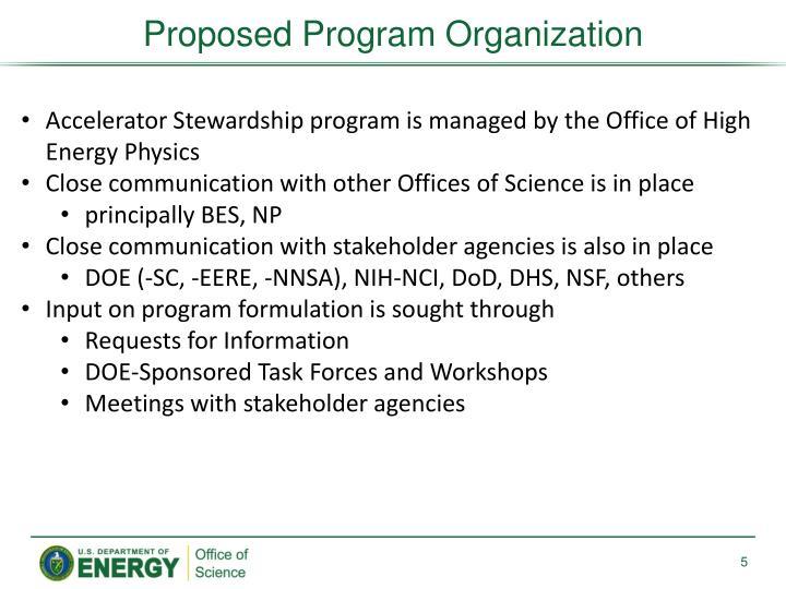 Proposed Program Organization