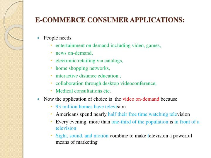 E-COMMERCE CONSUMER APPLICATIONS
