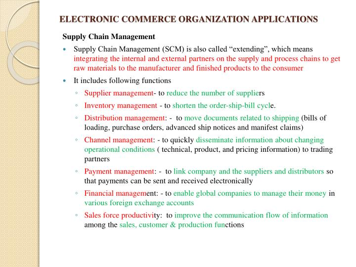ELECTRONIC COMMERCE ORGANIZATION APPLICATIONS
