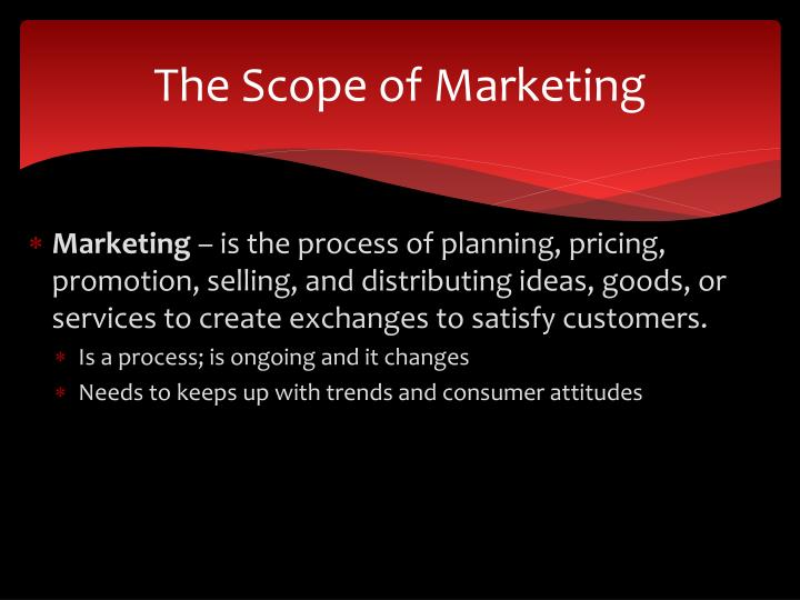 The scope of marketing