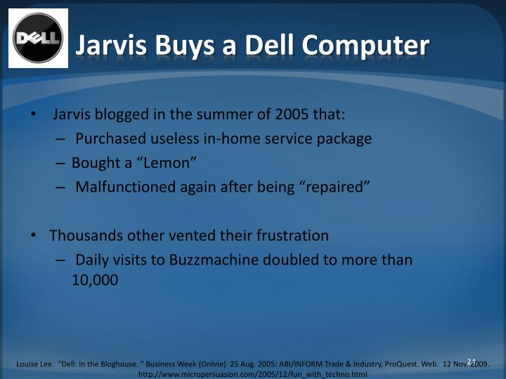 Jarvis Buys a Dell Computer