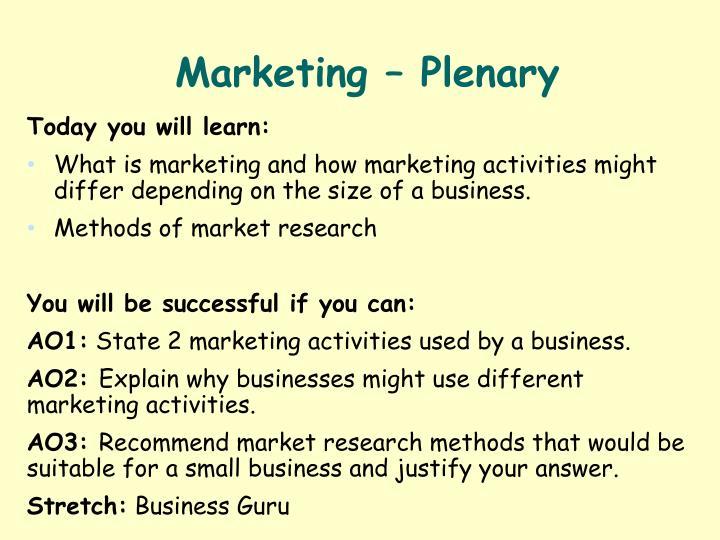 Marketing – Plenary