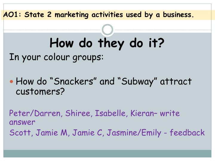 AO1: State 2 marketing activities used by a business.