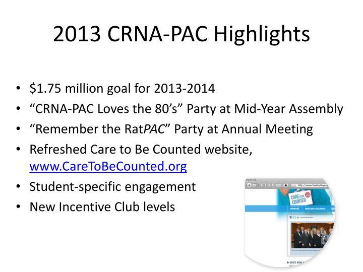 2013 CRNA-PAC Highlights