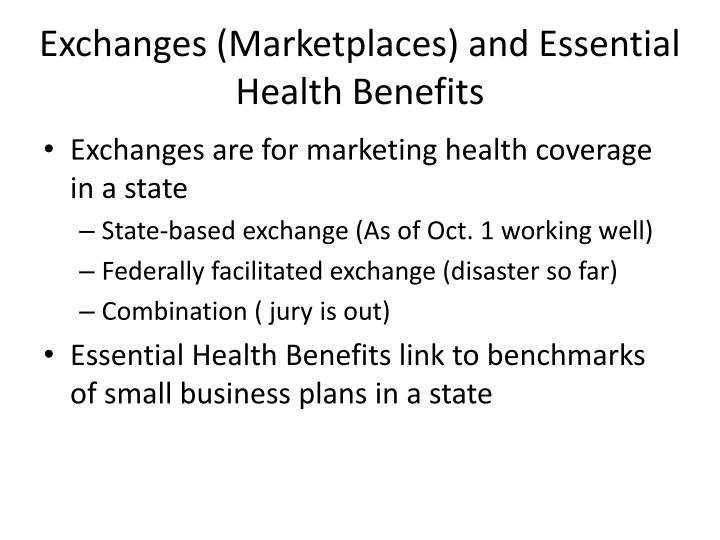 Exchanges (Marketplaces) and Essential Health Benefits