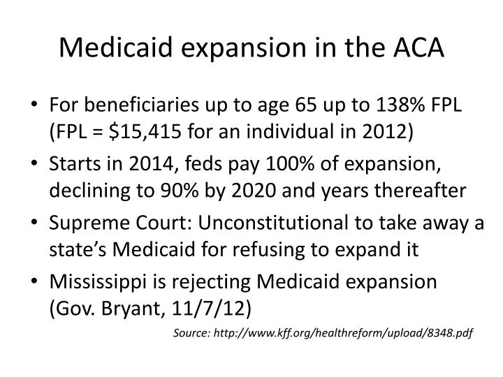 Medicaid expansion in the ACA