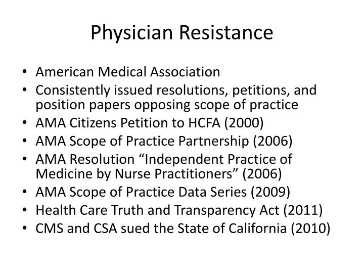 Physician Resistance