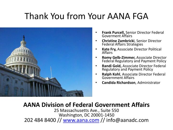 Thank You from Your AANA FGA