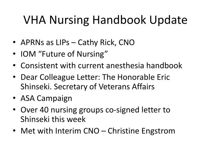 VHA Nursing Handbook Update