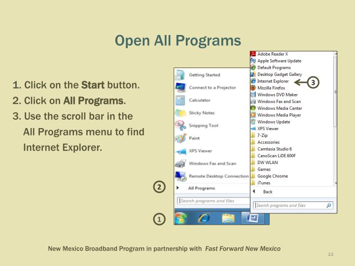 Open All Programs
