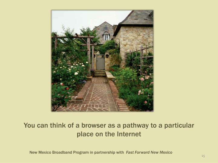 You can think of a browser as a pathway to a particular place on the Internet